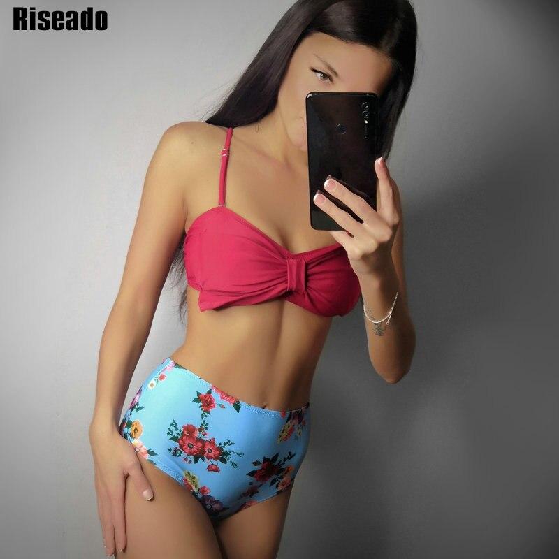 ff4563fc27328 Riseado Bow Bikinis Sexy Bandeau Swimwear Women Floral Printing High Waist  Swimsuits Female 2019 New Bathing