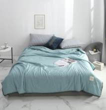 Solid Light Blue knot Bedspread Summer Quilt Tencel Blanket Comforter Bed Cover Quilting Home Textiles