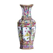 Jingdezhen artesanías antiguas Dinastía Qing qianlong florero de esmalte anual Adornos antiguos de colección