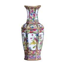Jingdezhen 골동품 수공예품 청나라 qianlong 에나멜 꽃병 연간 꽃병 골동품 컬렉션 장식품