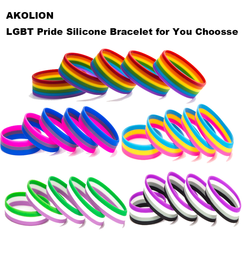 LGBT Pride Rainbow Pansexual Asexual Genderqueer <font><b>Bisexual</b></font> <font><b>Wristband</b></font> Jewelry Silicone Bracelet 10PCS SLP-0001 image