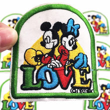 1Pcs Love Minnie Mickey Iron On Patch Sewing On Embroidered Applique Fabric for Jacket Badge DIY Custom Clothes Apparel Patches(China)