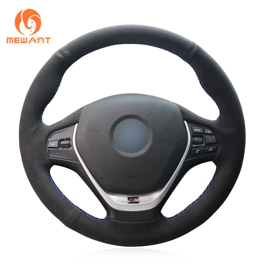 MEWANT Black Suede Hand-stitched Car Steering Wheel Cover for BMW F20 2012-2018 F45 2014-2018 F30 F31 F34 2013-2017 F32 F33 F36 hal rubenstein new black stitched chain trim collarless suede jacket m $349 99