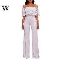 2018 Summer Hot Sale Women Lace High Waist Off Shoulder Flared Jumpsuits Rompers Wide Leg Pants
