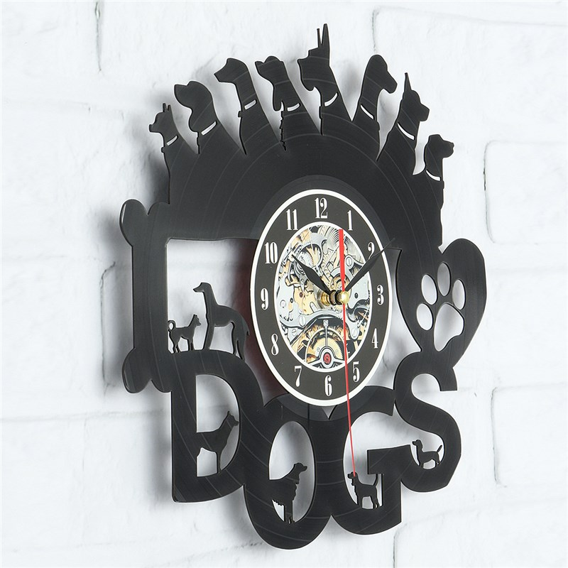 Charminer Acrylic Dogs Art Vinyl Wall Clock Vinyl Record Wall Clock Balck Gift Room Modern Home Record Vintage Decoration