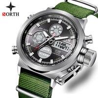 Модные брендовые мужские часы нейлоновый ремешок кварцевые цифровые и аналоговые часы мужские военные спортивные светодиодный Электронны