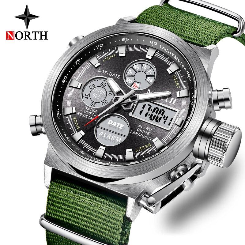 Mode marque hommes montres bracelet en Nylon Quartz numérique analogique montre hommes militaire Sport LED montre-bracelet électronique pour mari 2019