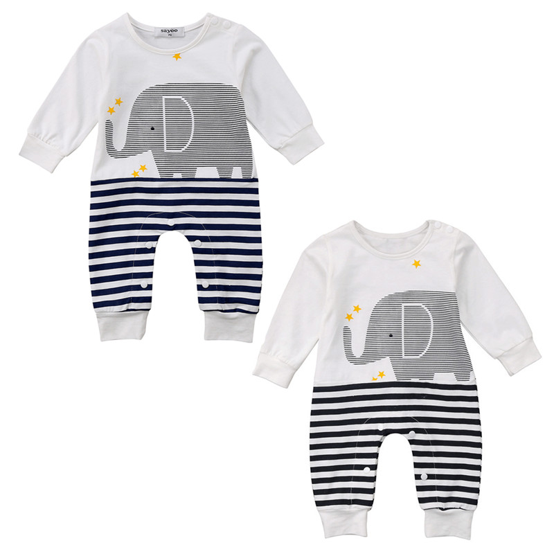Casual Newborn Kids Baby Girls Boys Long Sleeve Elephant Print Striped   Romper   Jumpsuit Playsuit Unisex Cotton Outfits Clothes
