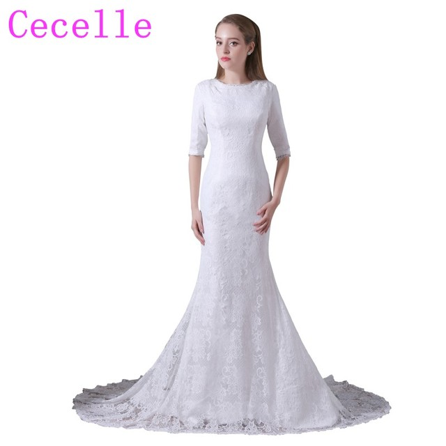 2019 Real Photo Mermaid Lace Modest Wedding Dresses With Half Sleeves  Vintage Country Rustic Bridal Gowns LDS Custom Made 3f0df21c70f4