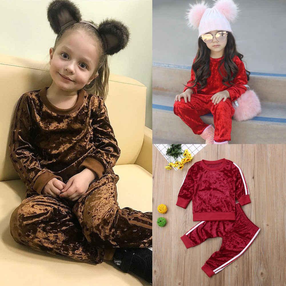 ... 2018 Multitrust брендовые осенние модные одежда для малышей для девочек бархат  сплошной наряд Комплект одежды топы a8fc1703380a1