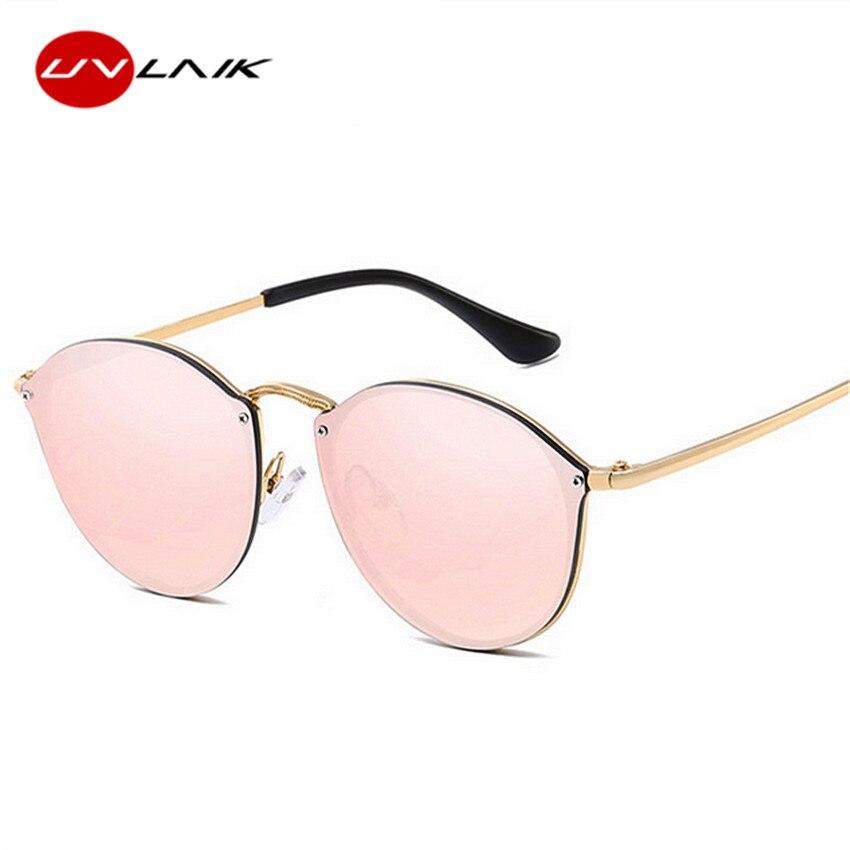 UVLAIK 2019 Cat Eye Sunglasses Women Luxury Rimless Sun