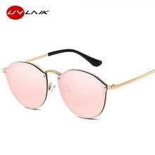73bcb0f1a UVLAIK 2019 القط العين النظارات الشمسية النساء الفاخرة بدون شفة نظارات شمسية  ريترو طلاء فرملس مكبرة السيدات العلامة التجارية مصم.