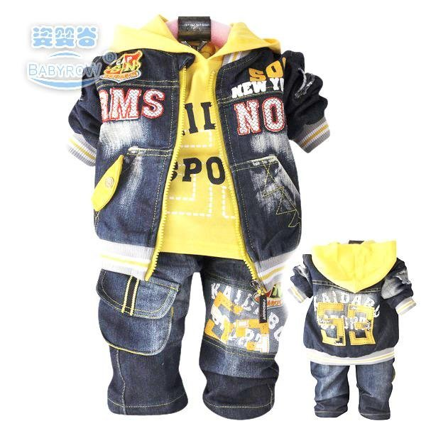 Best selling 2012 new Spring denim three-piece suit,denim + T-shirt + jeans,red and yellow (0-3 years)free shipping[E249]