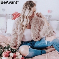 BeAvant O neck long sleeve knitted women sweater Casual hairball pink cardigan jumper 2018 Autumn streetwear winter outwear