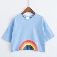 2017 Cartoon Summer Style Plus Size Harajuku Shirt Women Kawaii Love Printed Rainbow Milk Floral Cute