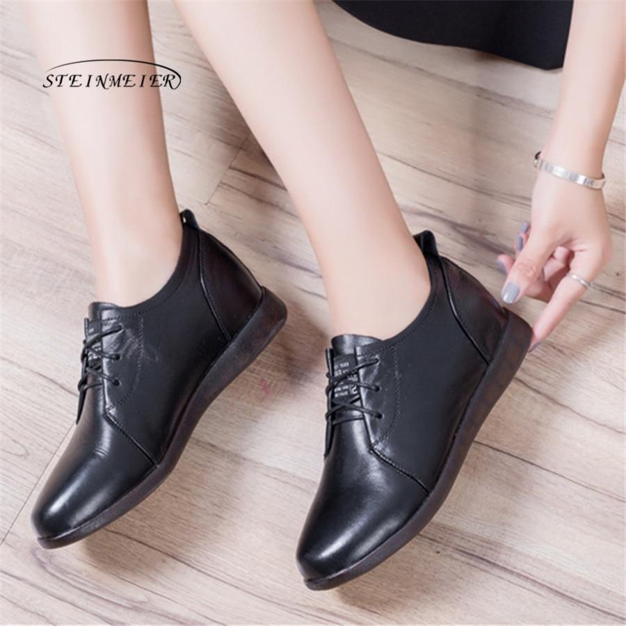 2018 Lacets Femmes Black Enceinte Véritable Maman Appartements Talon Doux En Noir Dames Mocassins Plat Cuir À Chaussures rrqS0xdw