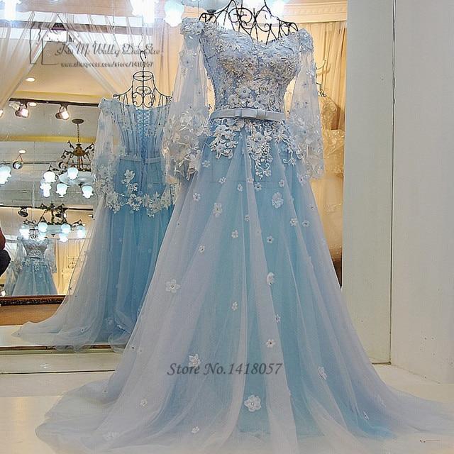 Trouwjurk Lichtblauw.Vintage Bohemian Trouwjurk Prinses Lichtblauw Bruidsjurken Bloemen