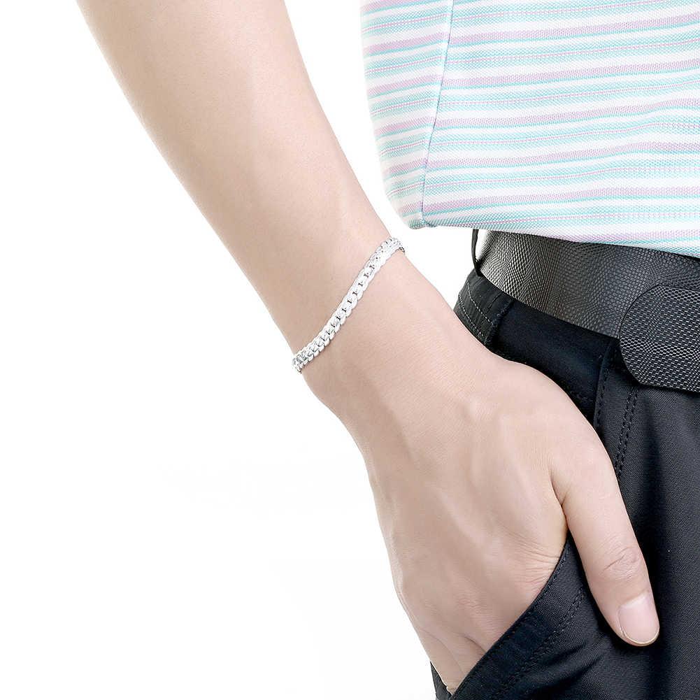 Kiteal Серебряный/Золотой Цвет Браслет Модные ювелирные изделия 5 мм 20 см змея плоская Мужская цепочка браслет на руку/pulsera для мужчин 925 штамп
