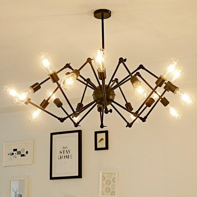 Chandelier industriel en araignée, lustre industriel en araignée à la mode, lustres de plafond à led en fer forgé, lampe à lustre de chambre