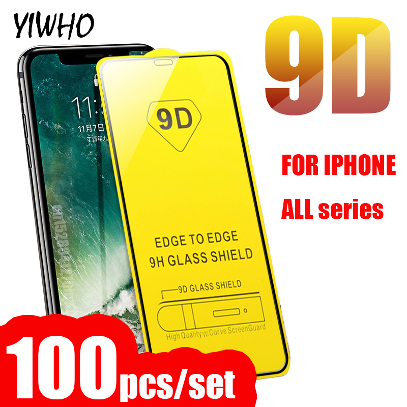 Image 1 - 100 PCS 9D Protective Glass For Iphone X Xs Max Xr 6 S 6s 8 Plus Case Screen Protector On The I Phone 7 8Plus Film Tempered Glas-in Phone Screen Protectors from Cellphones & Telecommunications