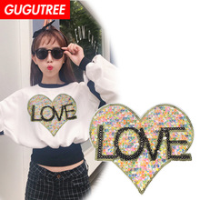 GUGUTREE embroidery Sequins big love heart patches love patches badges applique patches for clothing XC-198 gugutree rope embroidery sequins big skull patches love heart patches badges applique patches for clothing xc 47