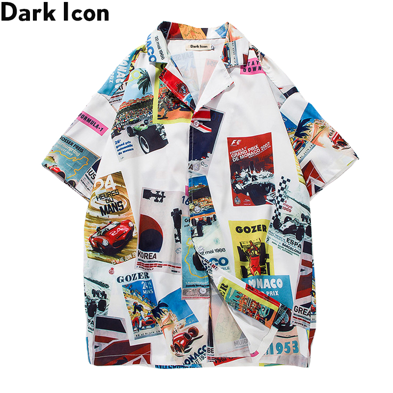 Printed Turn-down Collar Men's Shirt Vintage Hip Hop Shirt Men 2018 Summer Hawaii Style Men Shirts