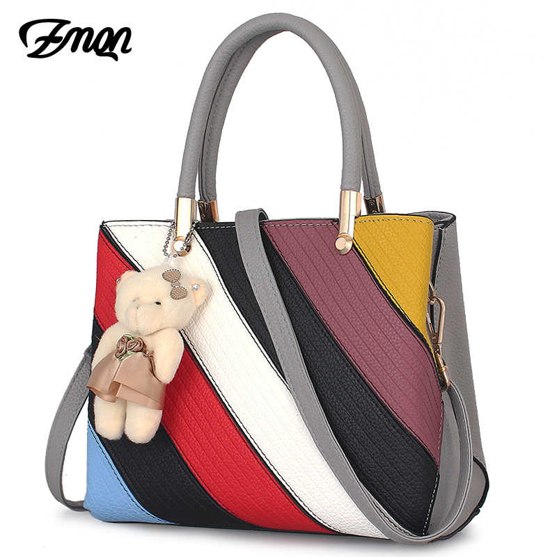 ef09832e598f ZMQN новые женские сумки мода 2018 сумки дизайнеры дамы PU кожа сумки на  ремне Красочные панелями