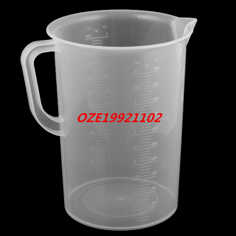 1PCS Lab Kitchen Plastic Water Liquid Graduated Measuring Cup Beaker Clear 5000ml thickening 304 stainless steel measuring cup 1000ml milk tea cup coffee liquid measuring cup with graduated never rust h 130mm