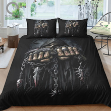 BOMCOM 3D Digital Printing Magic Skull Bedding Set Spiral Game Over Grim Reaper Poster Duvet Cover S 100% Microfiber Black