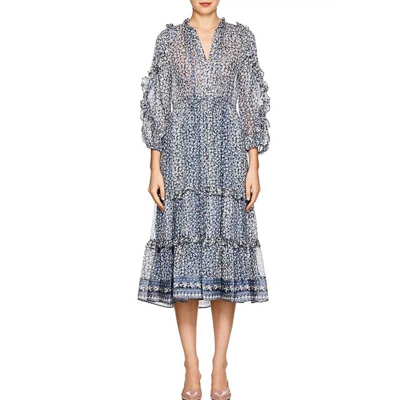 Boho robe d'été en soie à volants imprimé Floral robe à lacets à manches longues pour femmes