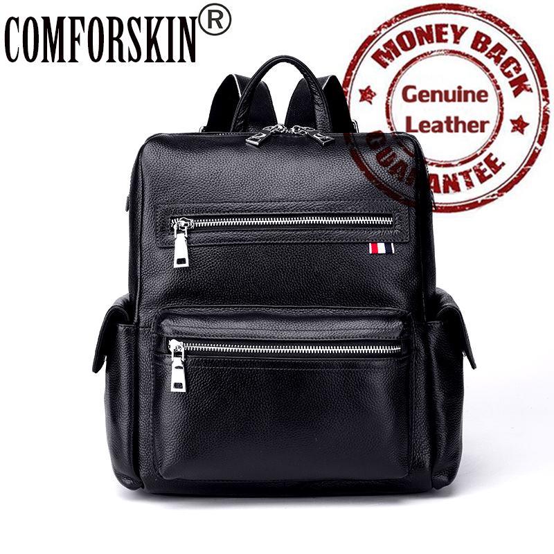 ФОТО 2017 New Arrivals 100% Guarantee Cow Leather Large Capacity European American Brand Women Backpacks Casual Hot Female Travel Bag