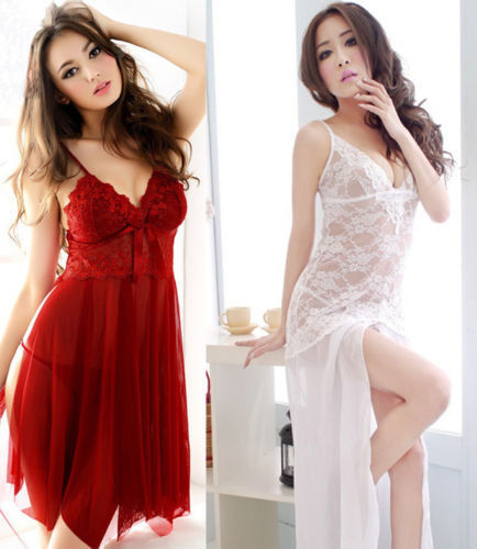 New Sexy Women Ladies Lingerie Dress Underwear Robe Sleepwear Nightgown G-string red white 2 Colors size M,L,XL