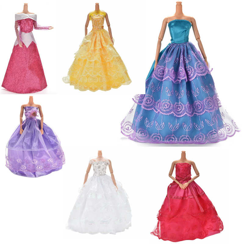 White Elegant Handmade Wedding princess Dress For   Doll Floral Doll Dress Clothes Clothing Multi Layers Dolls Accessories