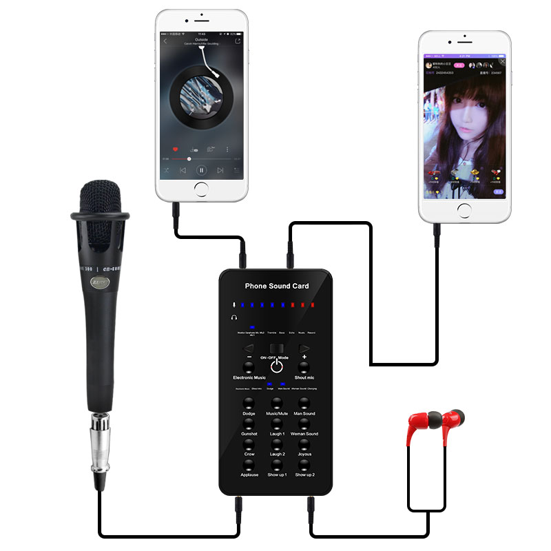 цена на External computer karaoke set phone sing microphone recording anchor live sound card suit