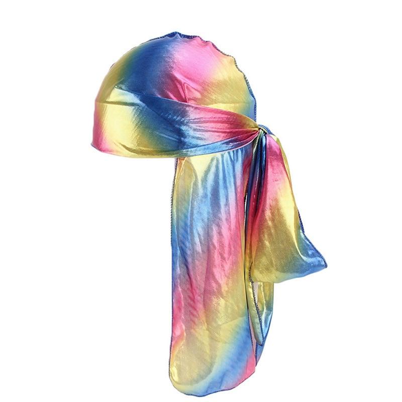 Hot Sale 2019 New Men/Women Colorful Silk Laser Polyester Bandana Hat Tail Headwrap Headwear