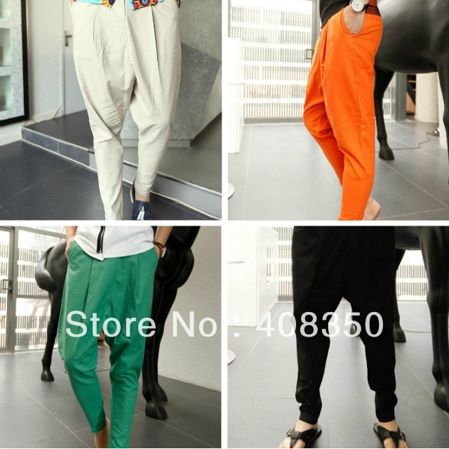 4 Colors Men's Fashion Cool Drop Crotch Baggy Linen Casual Long Harem Sweat Pant