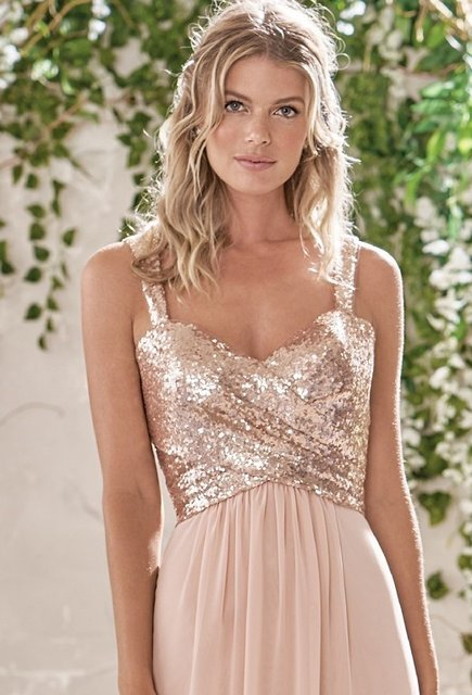 390c24176329 2017 Rose Gold Bridesmaid Dresses A Line Spaghetti Straps Backless Sequins  Chiffon Wedding Party Dress Maid of Honor BN105
