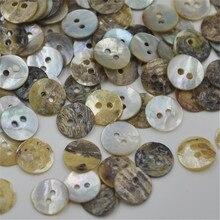100 шт, 12 мм, натуральные пуговицы для шитья, Япония, перламутровая швабра, круглая раковина, 2 отверстия, кнопка для шитья, PT104