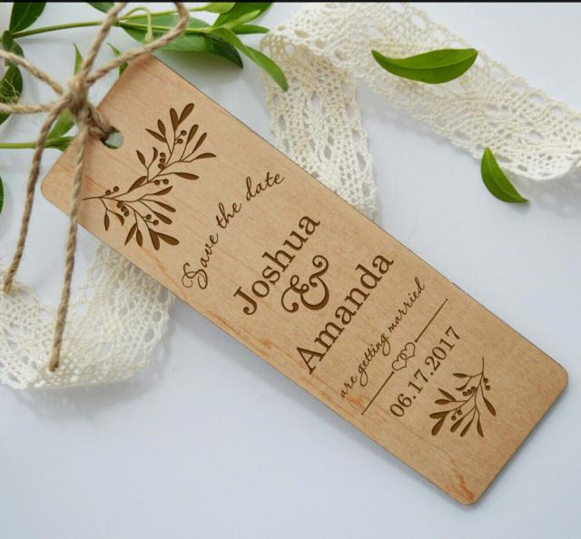 wooden save the date bookmark wood wedding invitation wedding