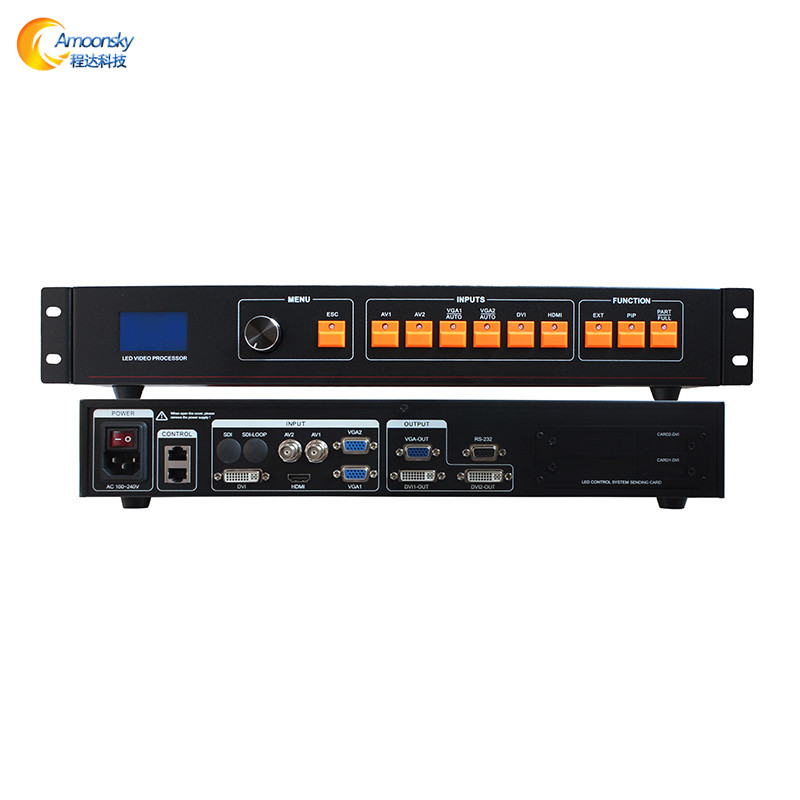 AMS-LVP506 av dvi vga support d'entrée 2 envoi carte 1920*1080 pixel led location affichage led processeur vidéo pour smd led panneau