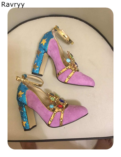 Colorful Crystal Womans high heels purple sexy pump patchwork female party dress shoe bling bling blue square heel single shoesColorful Crystal Womans high heels purple sexy pump patchwork female party dress shoe bling bling blue square heel single shoes