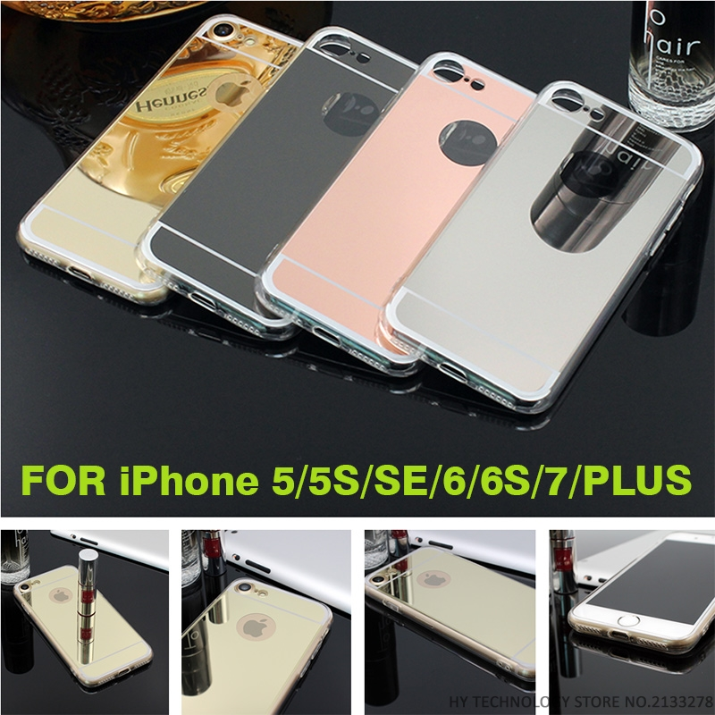New Fashion Rose gold Luxury Mirror Soft Clear TPU Case For iPhone 7 Plus 6 6S 4.7 inch & iPhone6 Plus 5.5″ & SE 5S 5 Cover Back