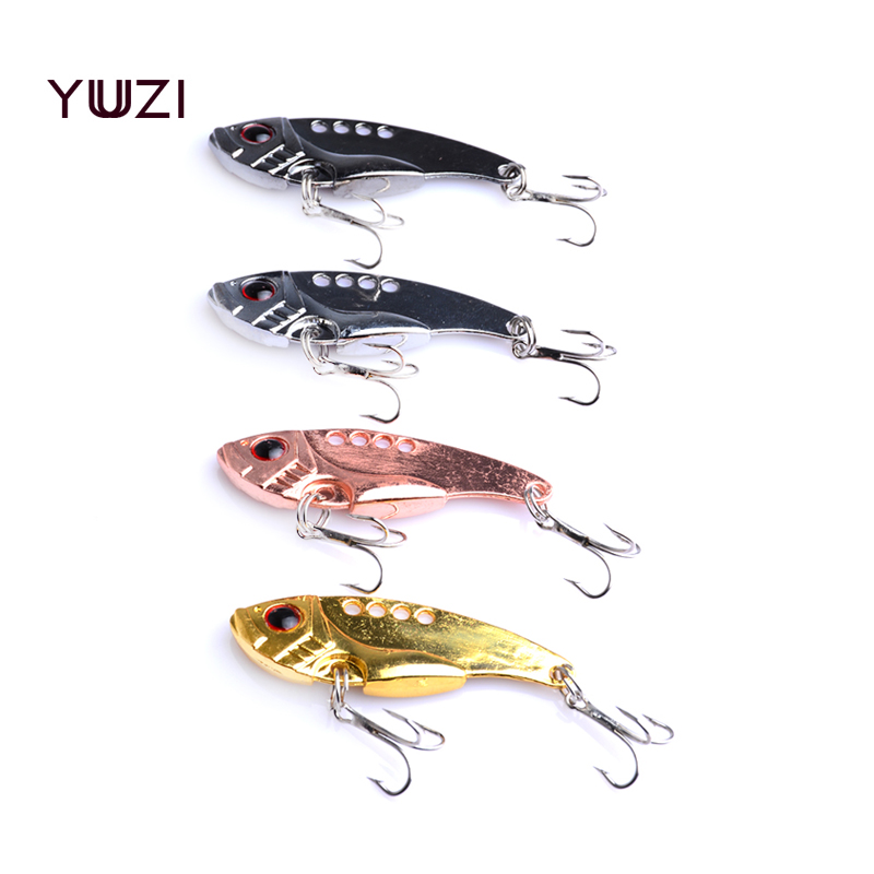 YUZI 50PCS VIBE Fishing lures 5.5CM 11G 8#hooks carp fishing tackle vibrator Lure fishing wobblers hard Bait Spoon Metal Lure