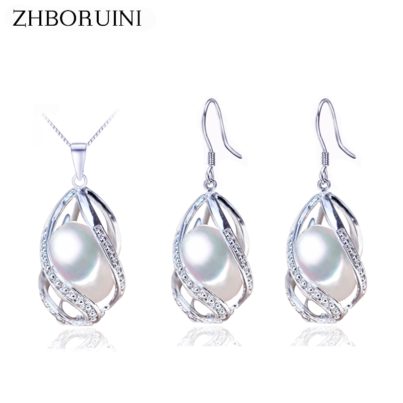 ZHBORUINI Pearl Jewelry Set 925 Sterling Silver Jewelry Natural Freshwater Pearl Beads Cage Necklace Earring Set For Women Gift jenni new pink solid ruffled chemise l $39 5 dbfl