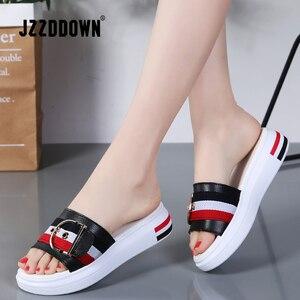 Image 1 - Jzzddown 女性スリッパフラット靴の女性の本革ビーチサンダルレディース高級ベルトプラットフォームスライドフリップは、夏