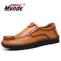 Mynde 2019 Новая мода кожа весна повседневная обувь мужская ручной работы винтажные Лоферы для мужчин туфли без каблуков Лидер продаж мокасин
