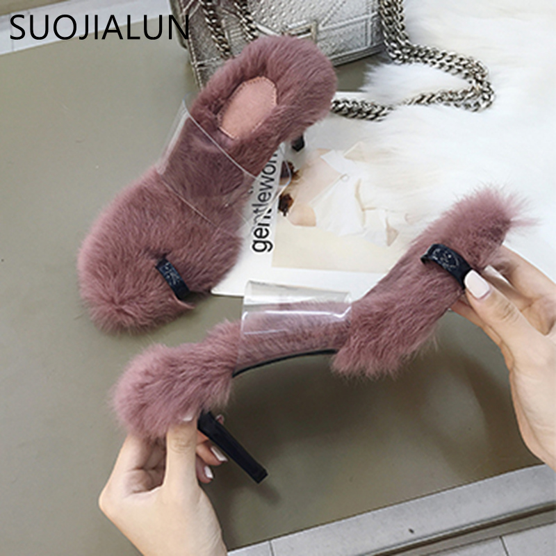 SUOJIALUN 2018 New Fashion Female Slippers Sexy High Heel Sandals Fluffy Fur Elegant Slipper Ladies Shoes Slippers Women in Slippers from Shoes