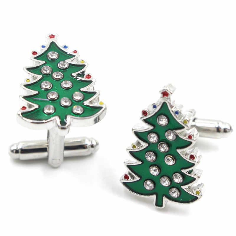 حجر الراين أزرار أكمام من المينا شجرة خضراء الكفة زر دبابيس اليدوية شجرة عيد الميلاد أزرار أكمام للنساء الرجال هدايا عيد الميلاد