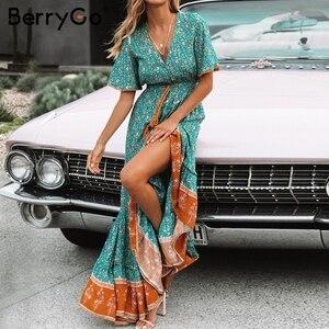 Image 2 - BerryGo vestiti dalle donne Della Boemia abiti di stampa vestito da estate manica Corta increspato lungo maxi vestito con scollo a v con coulisse signore abiti