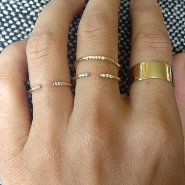 Simple Minimal Jewelry Design Open Adjust Gold Color Cz Women Girl